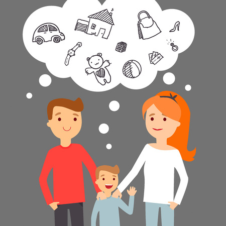 thinking: Vector illustration. Family dreams about success.