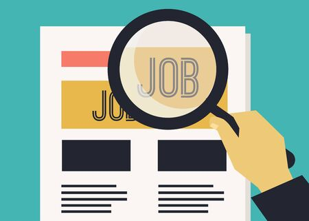 Vector illustration. Person in job search Ilustração