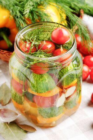 pickled vegetables in jar photo