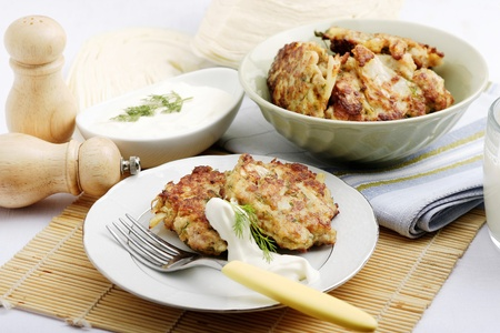 farce: cabbage pancakes with farce Stock Photo