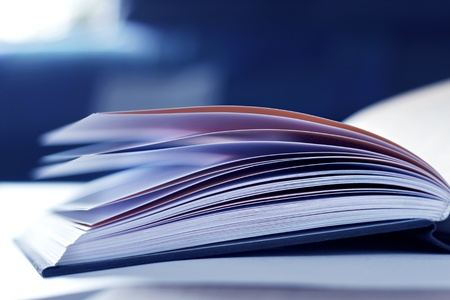 selective: illustration of open book with selective focus