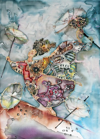 umbrella rain: painted on silk illustration dancing women in the rain