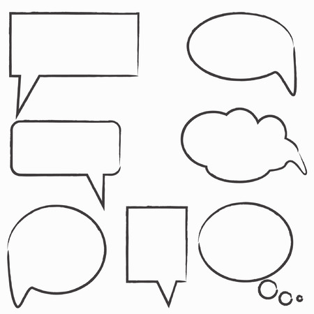 Vector Collection of Hand Drawn Doodle Style Speech Bubbles  Vector