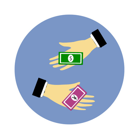 Hand giving money dollar to money yen Vector