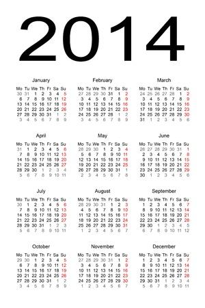 calendar 2014 Stock Vector - 17284809