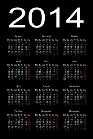 calendar 2014 Stock Vector - 17284803