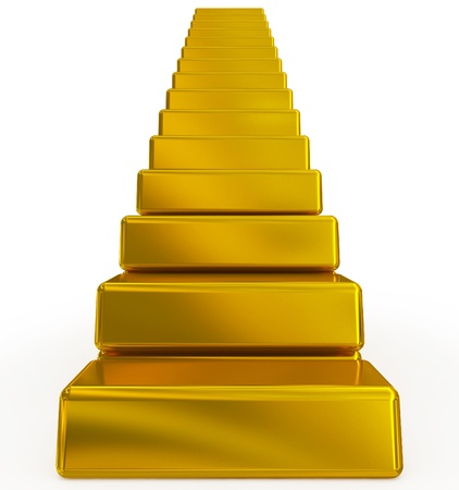 gold bars stairs 写真素材