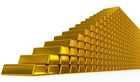 gold bars stairs Stock Photo