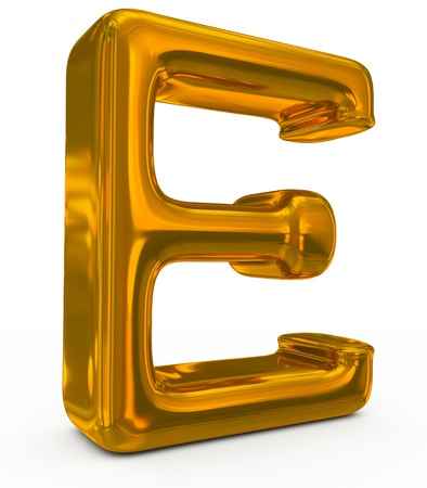 letter E golden photo