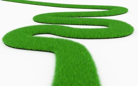 grass winding road Stock Photo