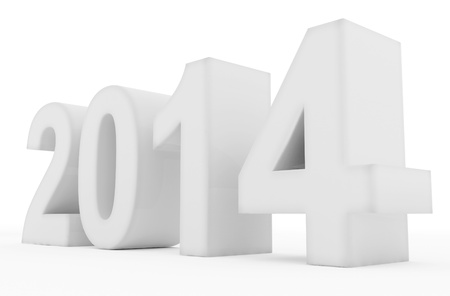 year 2014 white Stock Photo