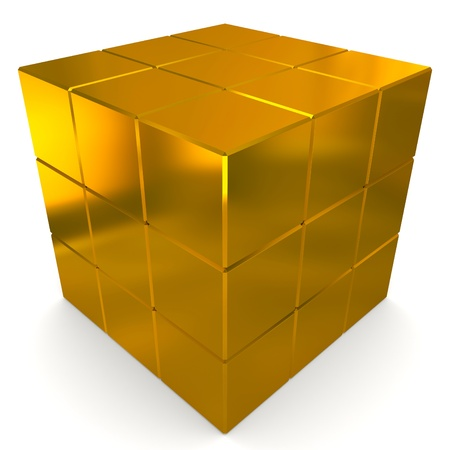 cubes 3d golden