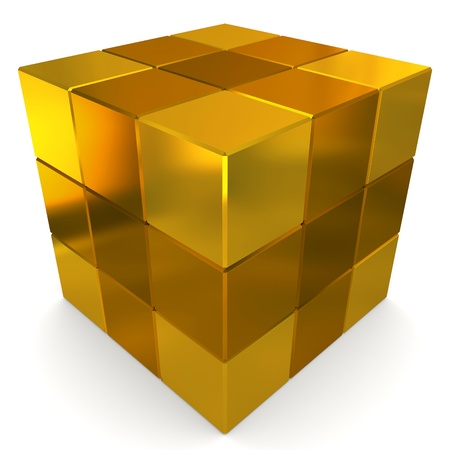 cubes 3d golden photo