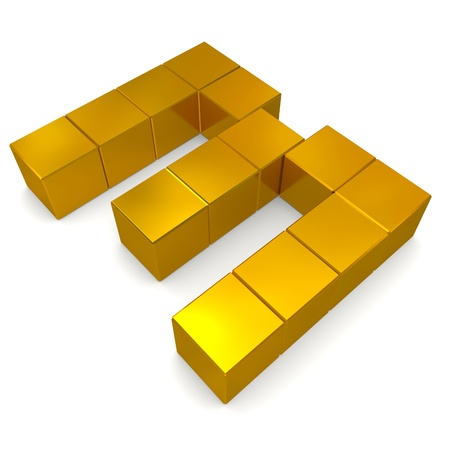 number 3 cubic golden photo