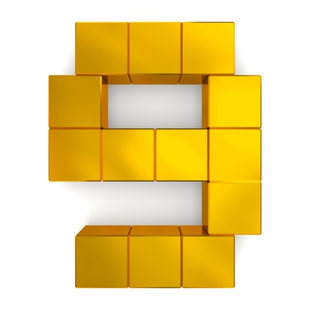 number 9 cubic golden photo