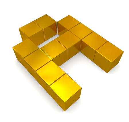 letter A cubic golden photo