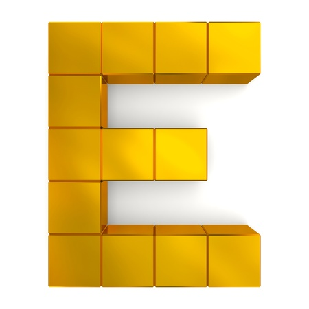 letter E cubic golden Stock Photo