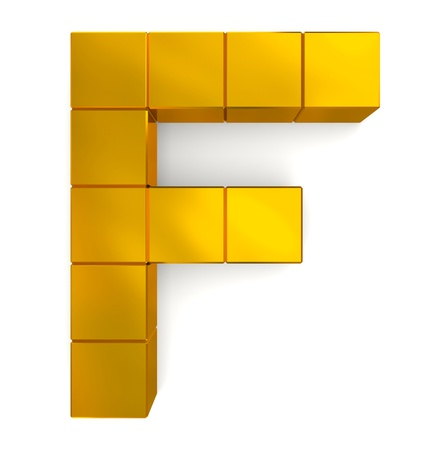 letter F cubic golden Stock Photo