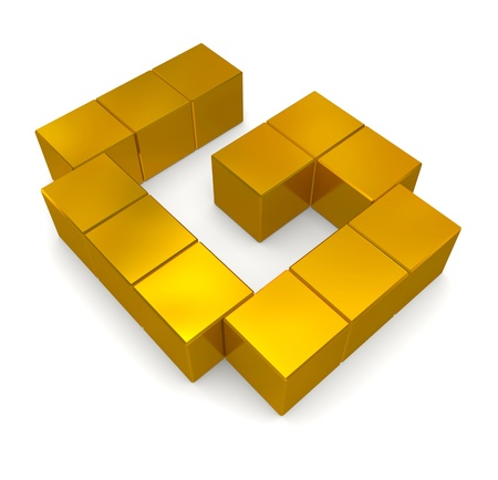 letter G cubic golden Stock Photo