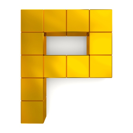 letter P cubic golden photo