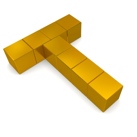letter T cubic golden photo
