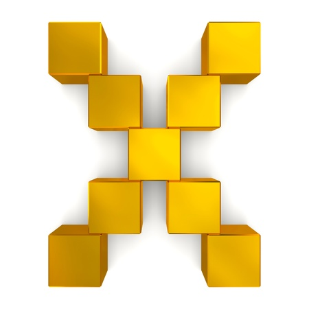 letter X cubic golden photo