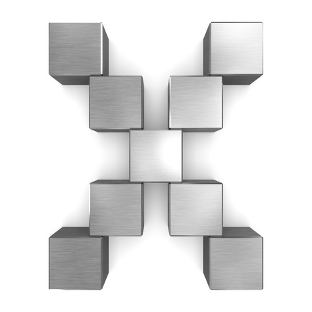 letter X cubic metal Stock Photo