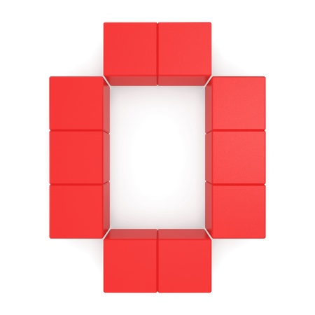 number 0 cubic red