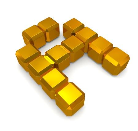 letter A cubic golden photo