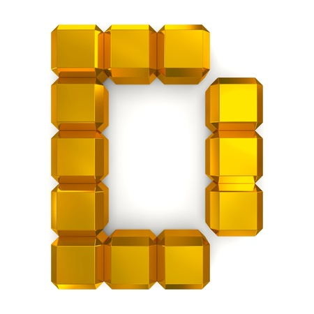 letter D cubic golden photo