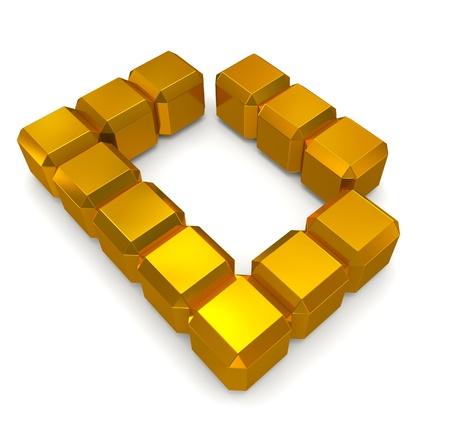letter D cubic golden photo