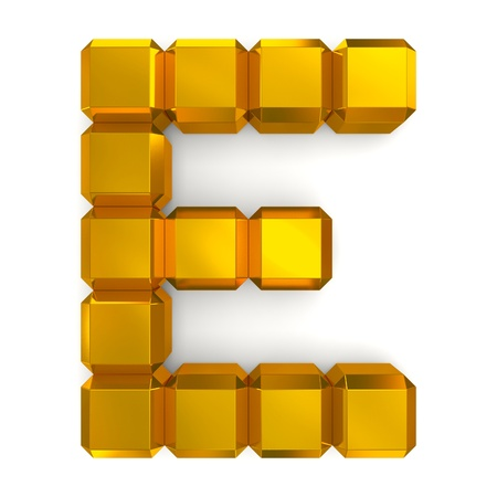 letter E cubic golden photo