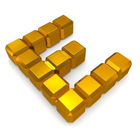 letter E cubic golden photo