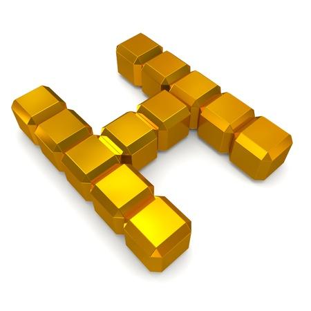 letter H cubic golden photo