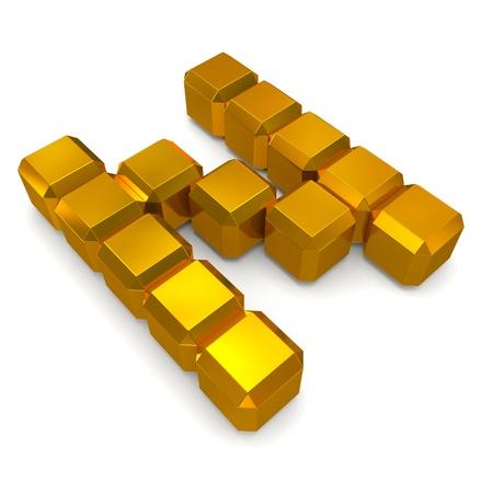 letter N cubic golden photo