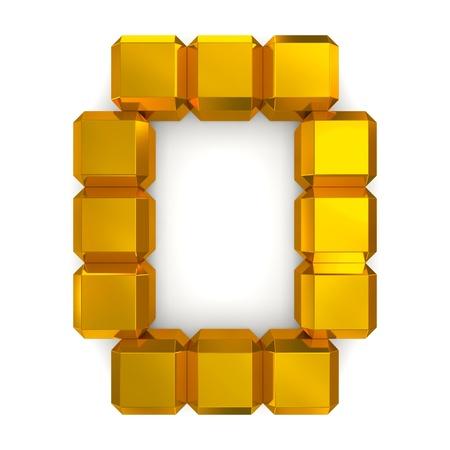 letter O cubic golden photo