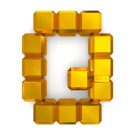 letter Q cubic golden photo