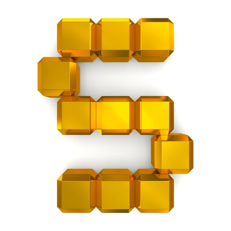 letter S cubic golden photo