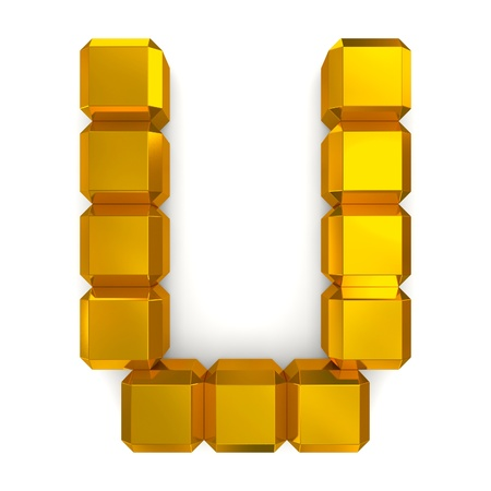 letter U cubic golden Stock Photo