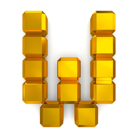 letter W cubic golden photo