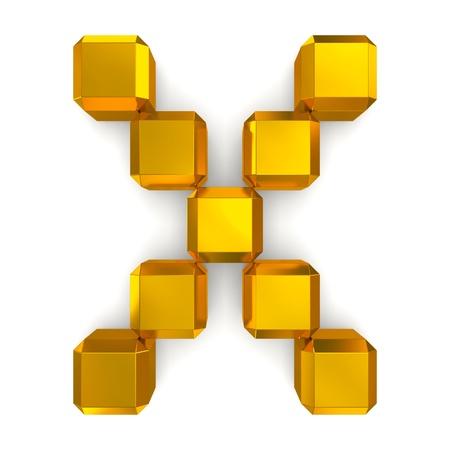 letter X cubic golden photo