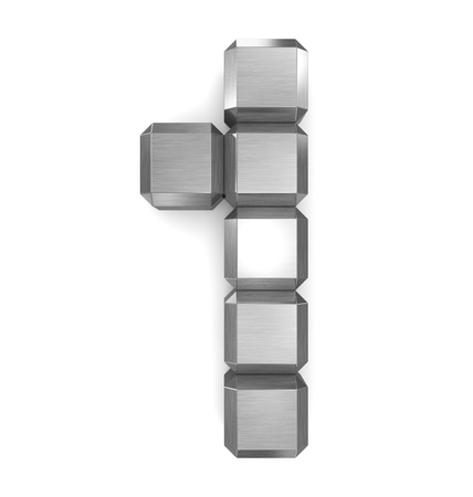number 1 cubic metal Stock Photo