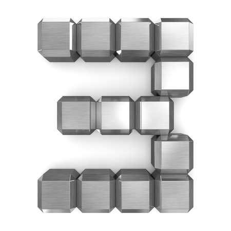 number 3 cubic metal Stock Photo - 21560932
