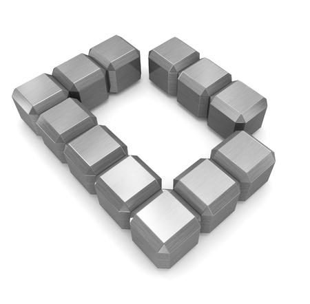 letter D cubic metal photo