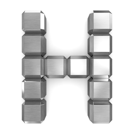 letter H cubic metal Stock Photo - 21560977