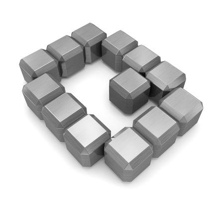 q: lettera Q metallo cubi