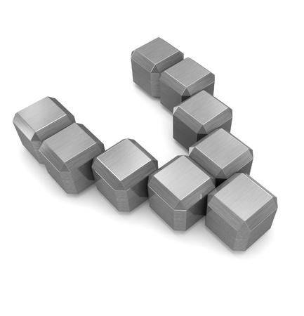 letter V cubic metal Stock Photo - 21561357