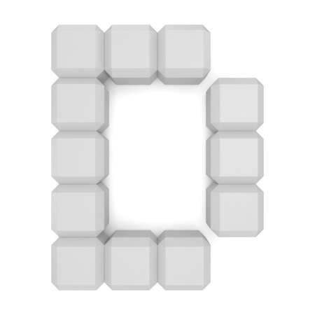 letter D cubic white photo