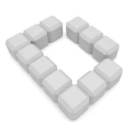 letter D cubic white Stock Photo - 21561454