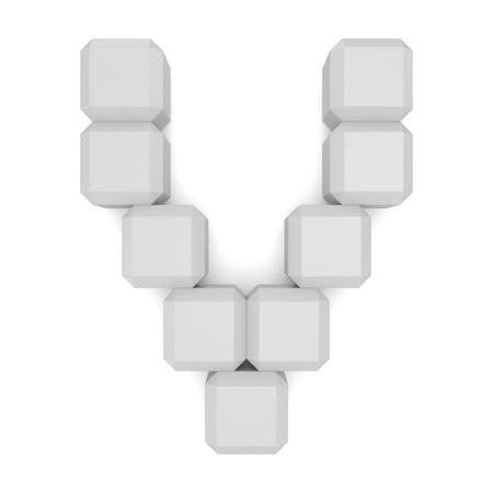 letter V cubic white photo